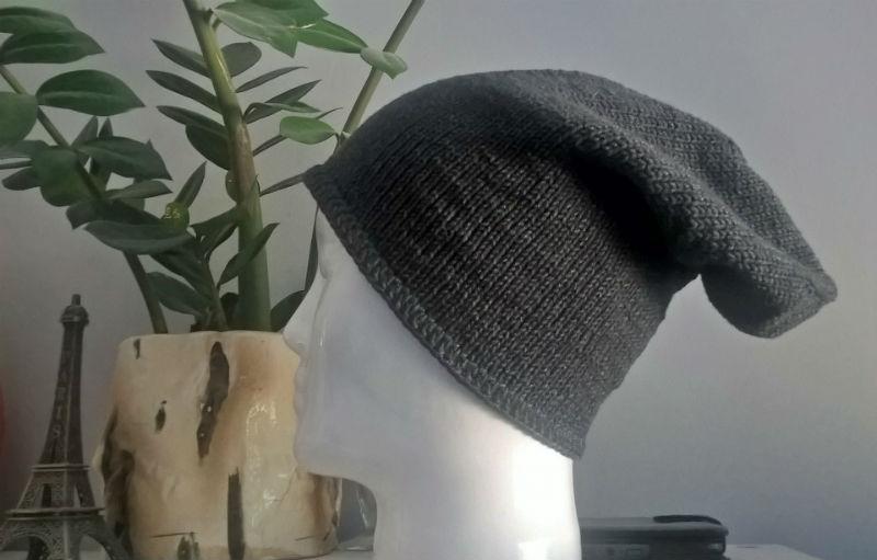 czapka męska na drutach